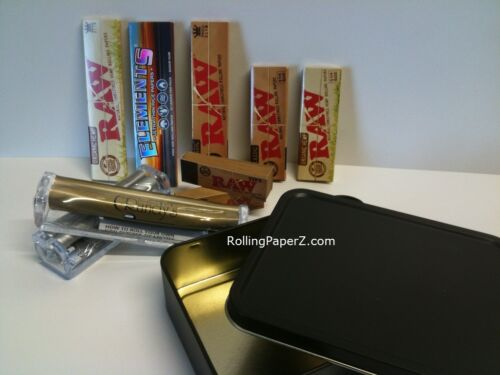 STORAGE TIN STASH+RAW+ELEMENTS Rolling Papers+RANDY/'s MACHINES+TIPS KING+1 1//4