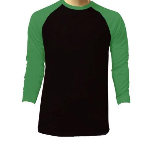 New Long Sleeve Raglan Baseball Mens Plain Tee Jersey Team Sports T-Shirt S-3XL
