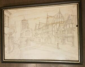 Vintage hand drawn pencil drawing' Lord Leicester Hospital Warwick' Street Scene