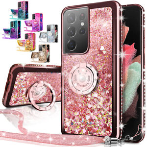 For Samsung Galaxy S21 Plus S21 Ultra 5G Case Glitter Liquid Cover + Ring Stand