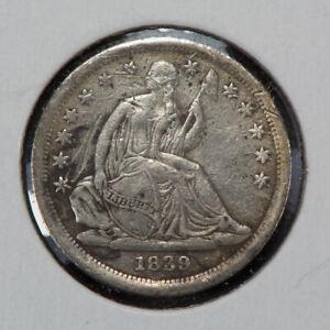 1839 10c Seated Liberty Silver Dime - VF/XF Detail - SKU-N519