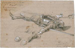 Wilhelm Emelé, Bleistift-/Kreide-Zeichnung, signiert, betitelt & datiert v. 1870