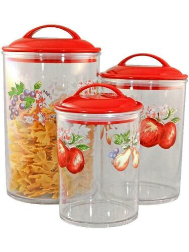 3 CORELLE Clear Acrylic CANISTER SET See-Thru Storage Jars *CHOOSE Your Pattern