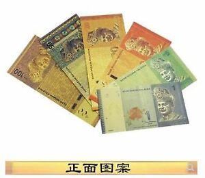 Malaysia-Golden-Foil-Banknote-6pcs-Set-UNC