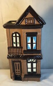 """Ceramic House Vase 11"""" Height, Beautiful Detailed Vase Shades of Brown STUNNING"""