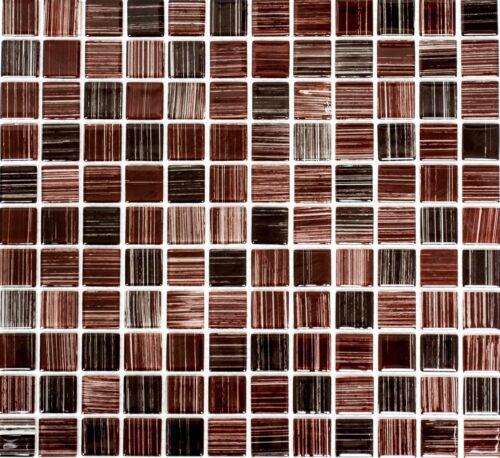 Glasmosaik dunkelbraun strich Duschwand Fliesenspiegel Küchenrückwand 64-1309/_b