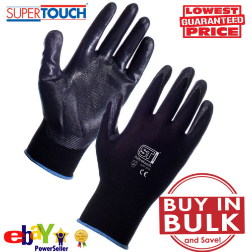 Black Nitrile Coat Grip Safety Work Gloves Builders Construction Mechanic Plant