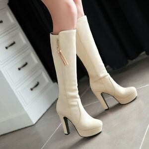 Womens-High-Heel-Platform-Knee-High-Boot-Patent-Leather-Tassel-Shoes-ALL-UK-Sz