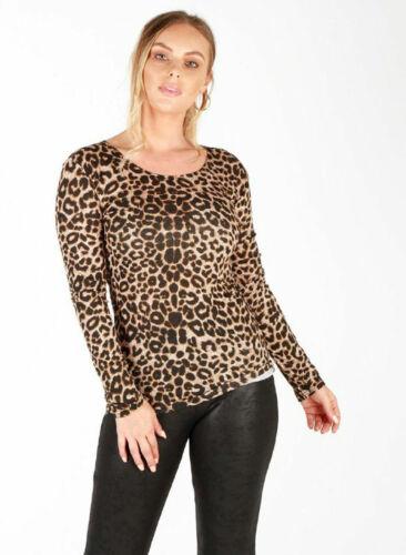 Ladies Women/'s Brown Leopard Print Long Sleeve Stretch Viscose Tee Top  8 To 26