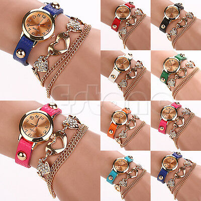 Chic Women Faux Leather Rhinestone Heart Shaped Bangle Bracelet Dial Wrist Watch