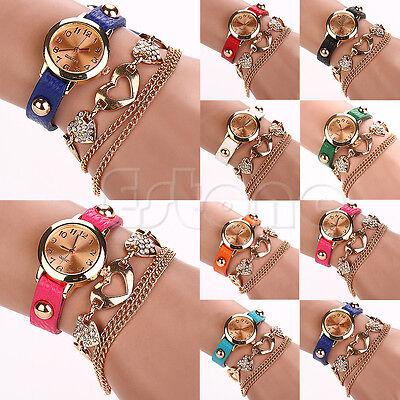Chic Women Faux Leather Rhinestone Heart Shaped Bangle Bracelet Dial Wrist Watch