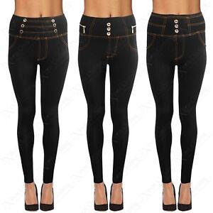 Détails sur Noir pour Femmes Jean Look Amincissant Legging Taille Haute Femmes Doublé