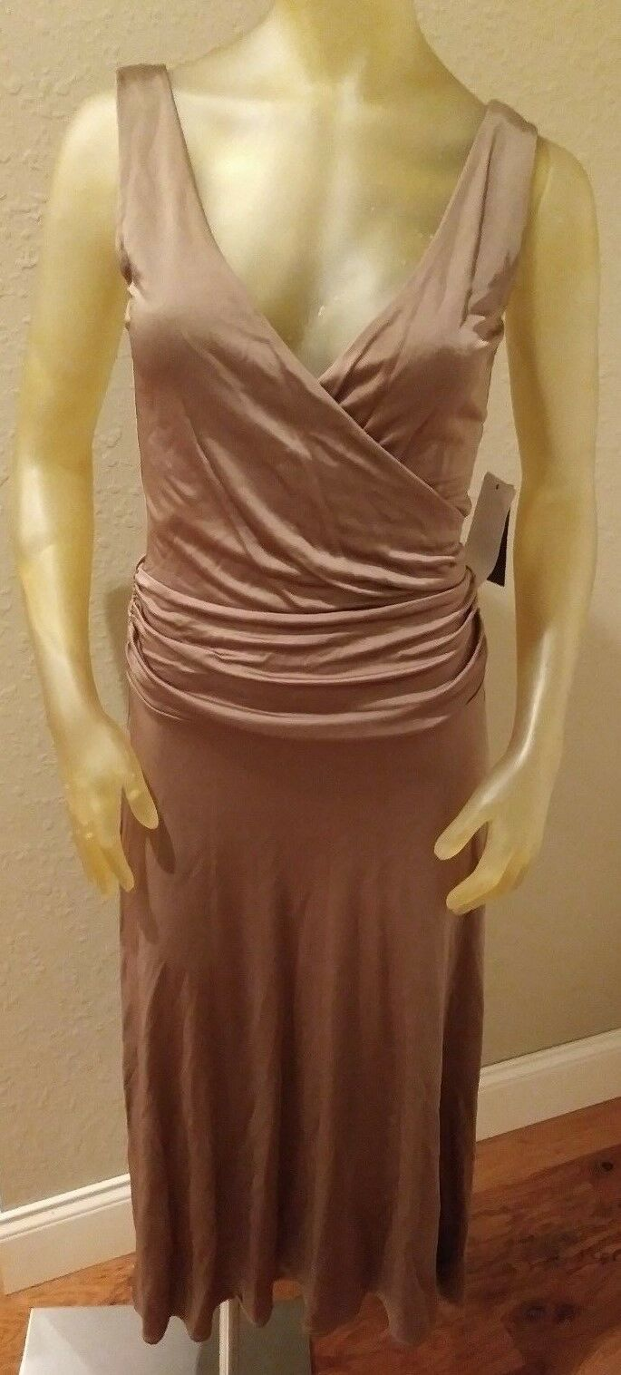 NWT  139 Kenneth Cole Reaction Ginger Brown Sleeveless Sheath Dress Womens S