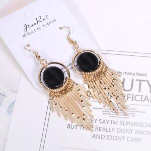 Black-Agate-Geometric-Sector-Long-Tassel-Dangle-Hook-Earrings-For-Women-Jewelry