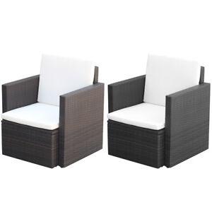 vidaXL-Patio-Rattan-Wicker-Garden-Single-Sofa-Armchair-Outdoor-Chair-Black-Brown
