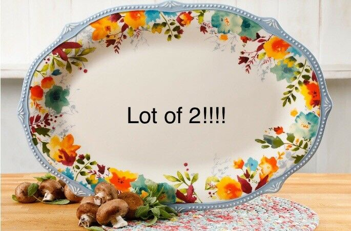 """✨Brand New The Pioneer Woman Willow 21"""" Oversized Oval Serving Platter Lot of 2✨"""