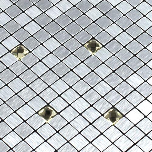 Glasmosaik Metall Mosaik Fliesen Silber Gold Diamant 10x10x4mm