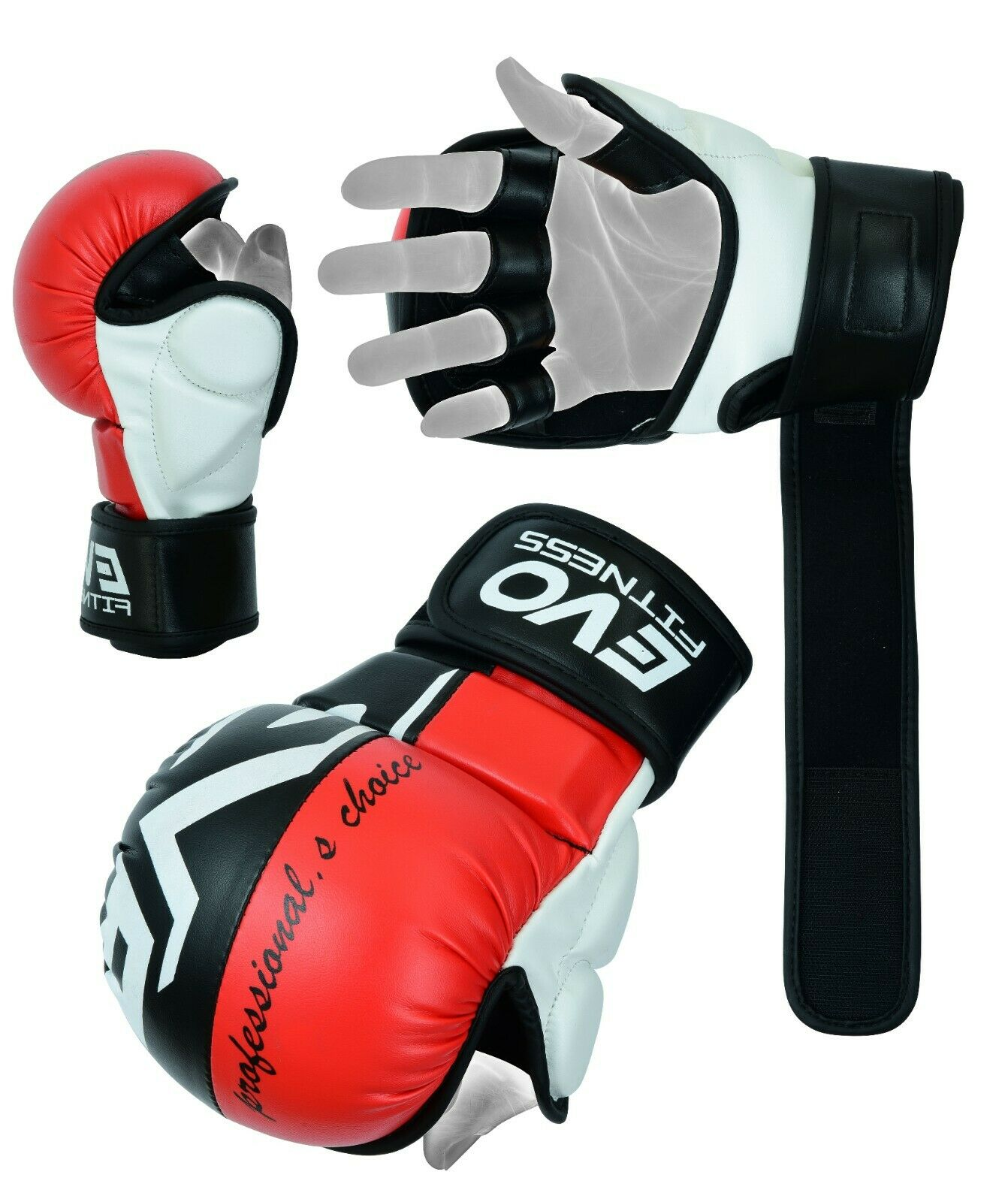 EVO Leather MMA Gloves Body Combat Muay Thai Gel Kickboxing Grappling Sparring Training UFC Cage Fighting Mitts Punching Bag Martial Arts Karate