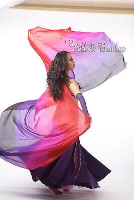 black-purple-pink-red belly dance silk veil+bag, 5mm silk, edges rolled