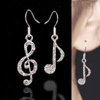 New Crystal Rhinestone Music Note Drop Dangle Design Girls Ear Stud Earring