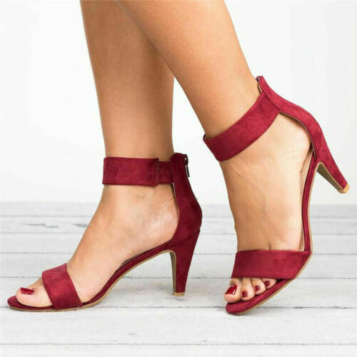 Women Dance Shoe Ankle Strap Flat Casual Sandals Shoes Chunky Low//Mid Heel Dress