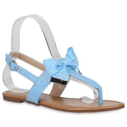 Damen Sandalen Schleifen Zehentrenner Sommer Zehenspreizer 822732 Schuhe