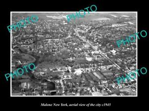 OLD-LARGE-HISTORIC-PHOTO-OF-MALONE-NEW-YORK-AERIAL-VIEW-OF-THE-TOWN-c1945-1