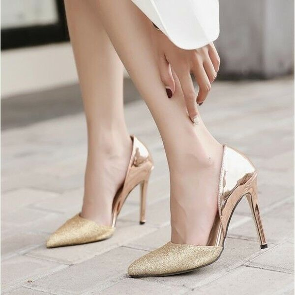 decolte elegante Zapatos mujer oro strass elegante decolte stiletto 11 cm spillo simil pelle 8273 6658e1