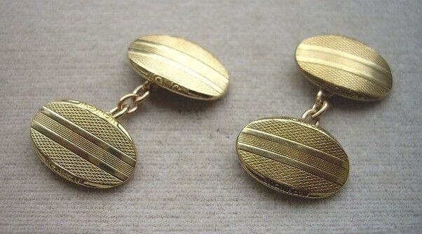 Elegant & Unused Vintage Art Deco Gold Plated? Oval Cufflinks