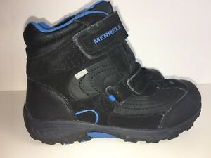 f79e44ad069 Merrell Boys Black/Blue Moab Polar Mid Strap Insulated Waterproof ...