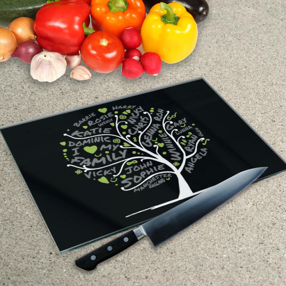 La tua parola Collage su un tagliere di vetro nell'albero genealogico Design