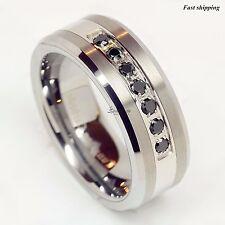 luxury best Tungsten Ring Black Diamonds Mens Wedding Band Brushed size 6-13