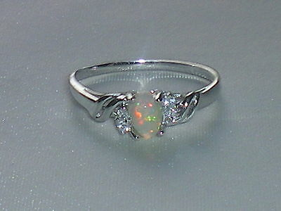 Ladies Sterling 925 Solid Silver Opal Solitaire With White Sapphire Accents Ring