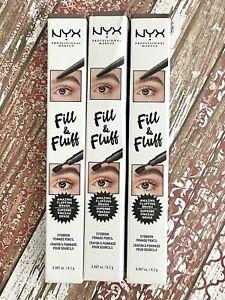 NYX Professional Makeup Fill & Fluff Eyebrow Pencil FFEP06 BRUNETTE Lot of 3 NEW