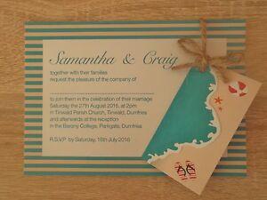Beach Theme Wedding Invitations   Beach Theme Wedding Invitations 40p Each Any Colour Stripes Ebay