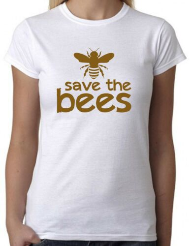 Save The Bees White T-Shirt Cool Slogan Statement Tee retro Honey
