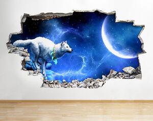 C231-lobo-luna-de-la-noche-de-la-fanta-pegatina-pared-vinilo-3d-habitacion-ninos