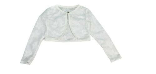 New Girls Kids childrens Lace Bolero Shrug Cardigan Diamond button Age 4 to 14 Y