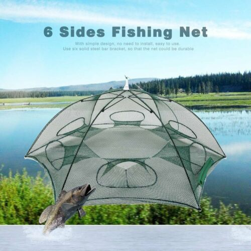 Hand-casting Automatic Fishing Net Trap Shrimp Cage Folding Network 6 Hole ES
