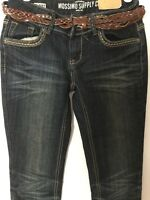Mossimo Fit 6 Supply Co. Dark Wash Distressed Skinny Jeans Size 3 W/belt