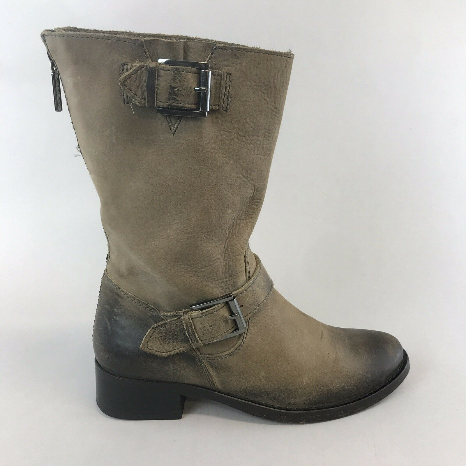 Mimco 37 UK4 Brown Leather Ankle Zip Up Biker Rider Booties Boho Hippies Boots