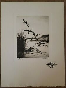 1944-Richard-E-Bishop-Etching-034-Settin-039-Down-034-With-Remarque-Duck-Hunting