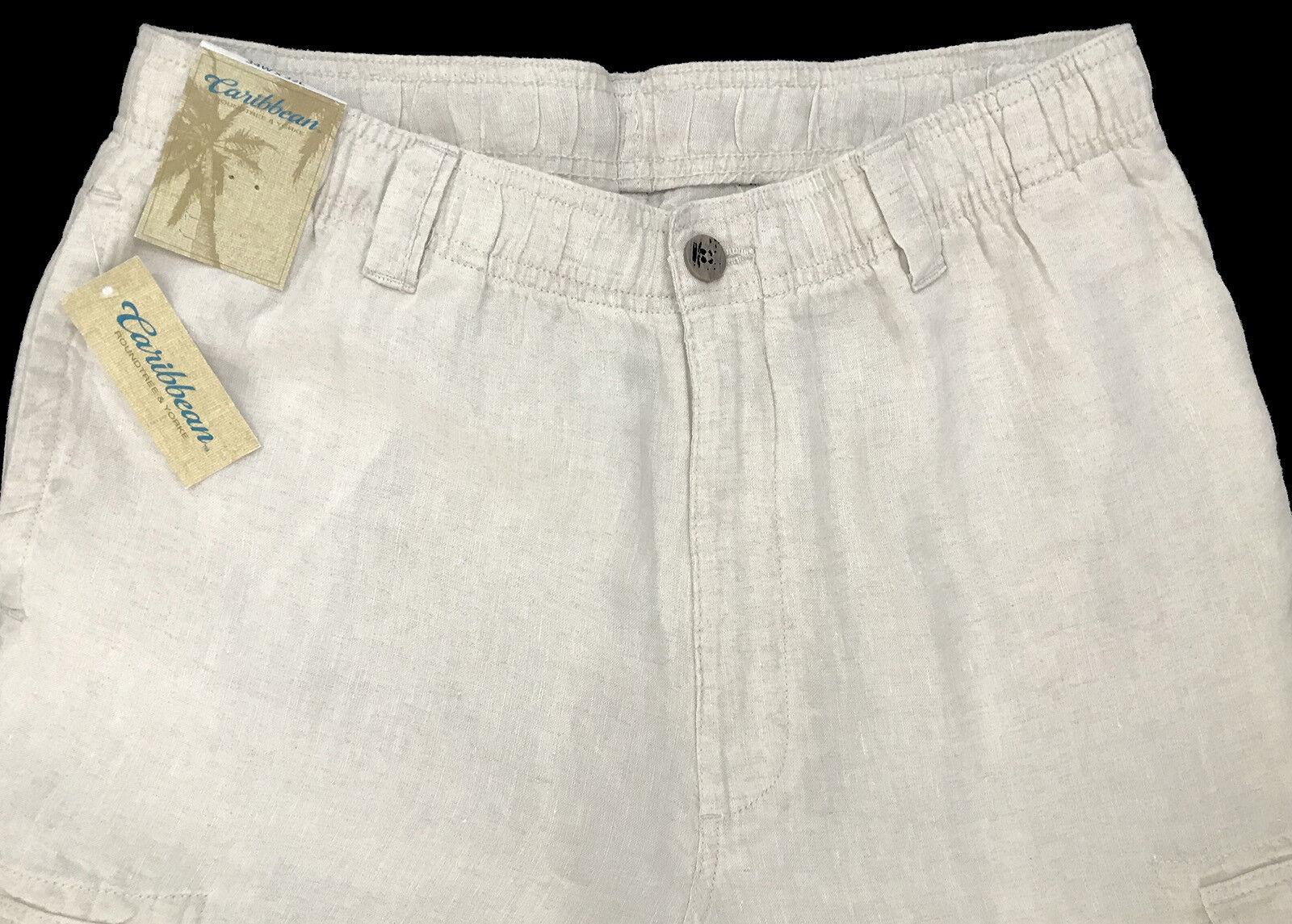 Men's CARIBBEAN Natural Khaki LINEN Drawstring Pants 38x30 NEW NWT Cargo Nice