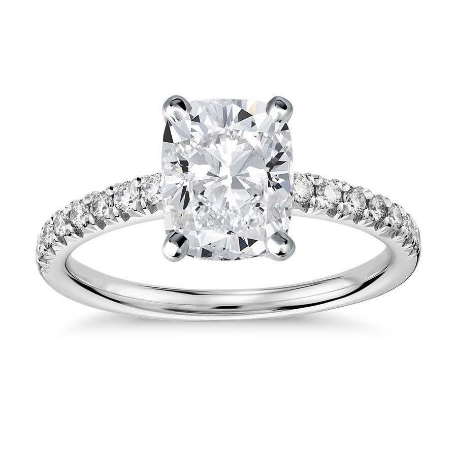 5.32 Ct Tw F SI2 CUSHION CUT DIAMOND PAVE ENGAGEMENT RING