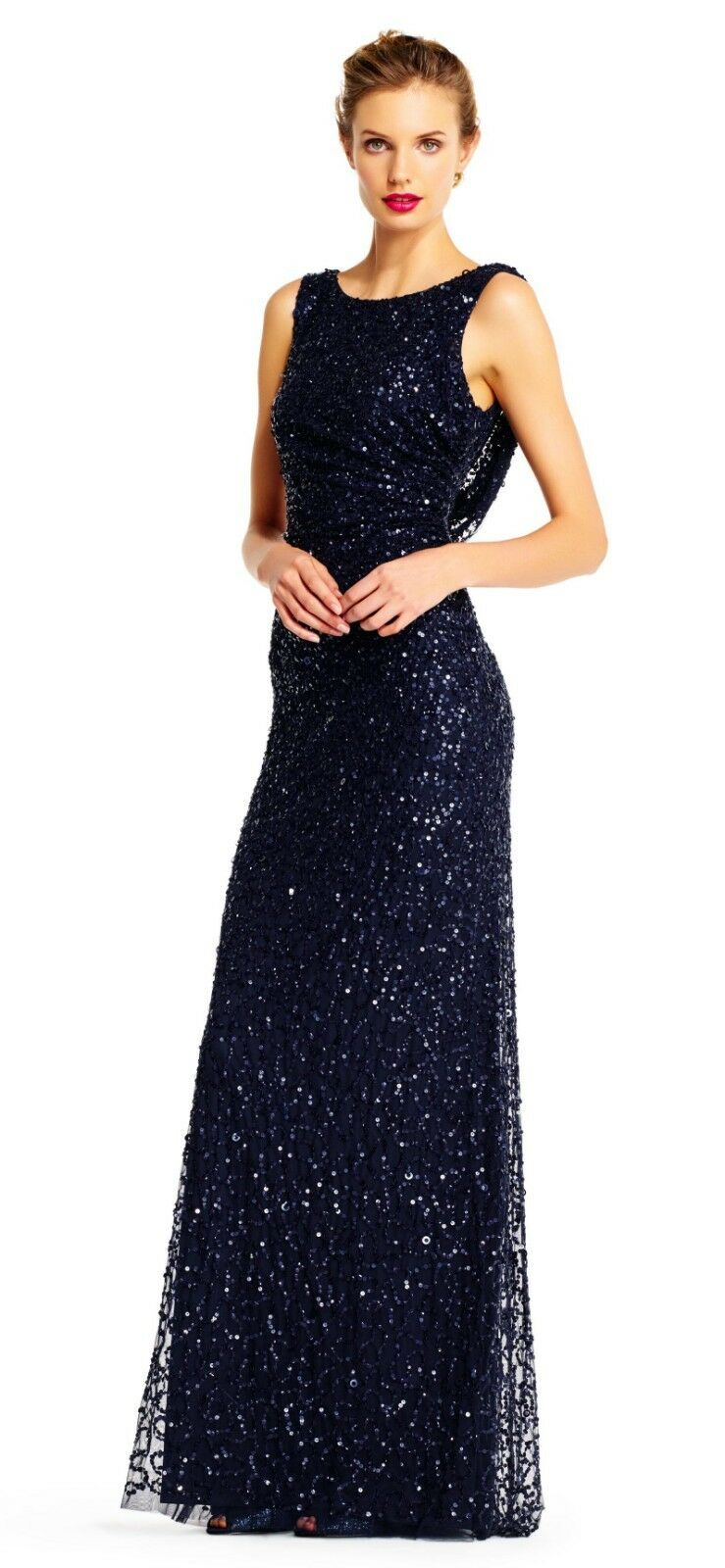 Adrianna Papell Sleeveless Sequin Beaded Gown Größe 4  D494 MSRP