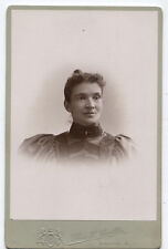CABINET CARD WOMAN FROM CANDY COUNTER IN BIG DRESS, HIDES CANDY. SCRANTON, PA.