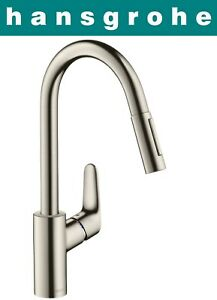 Peachy Details About Hansgrohe Focus 31815800 Single Lever Kitchen Mixer W Pull Out Spray S Steel Nib Download Free Architecture Designs Intelgarnamadebymaigaardcom