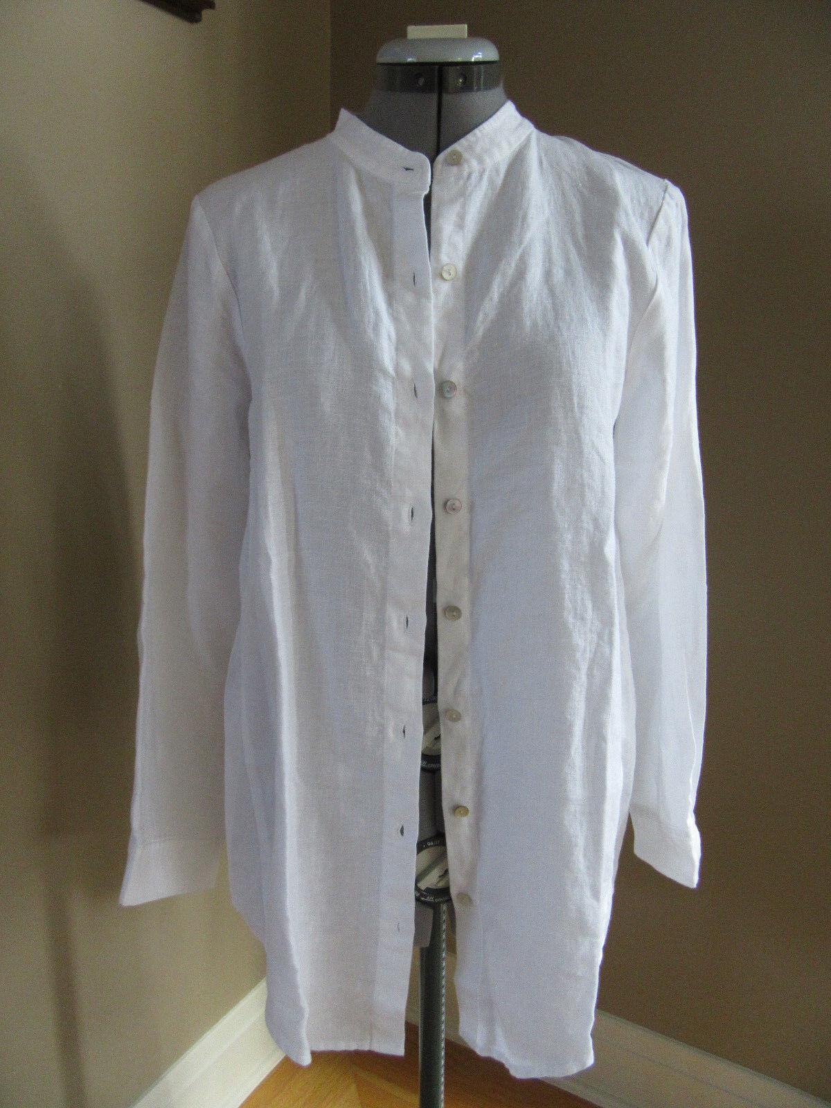 NWT EILEEN FISHER Mandarin Collar Organic Linen Long Sleeve Button Shirt  PS
