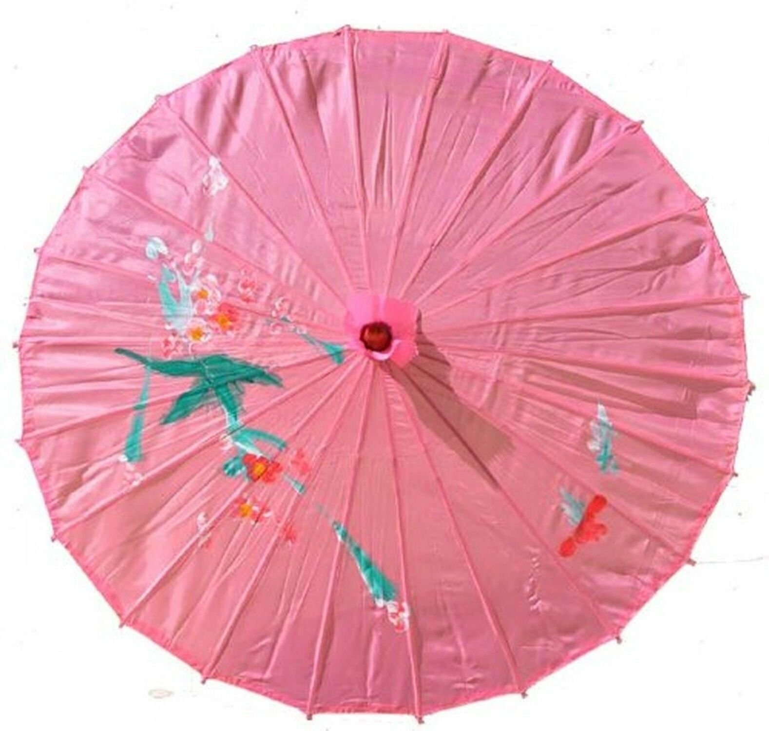 Chinese Cloth Flower Pink Parasol 32