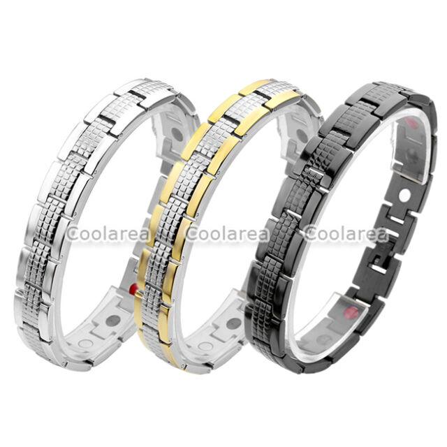 4 in 1 Steel 13mm Magnetic Energy Germanium Men's Therapy Power Health Bracelet